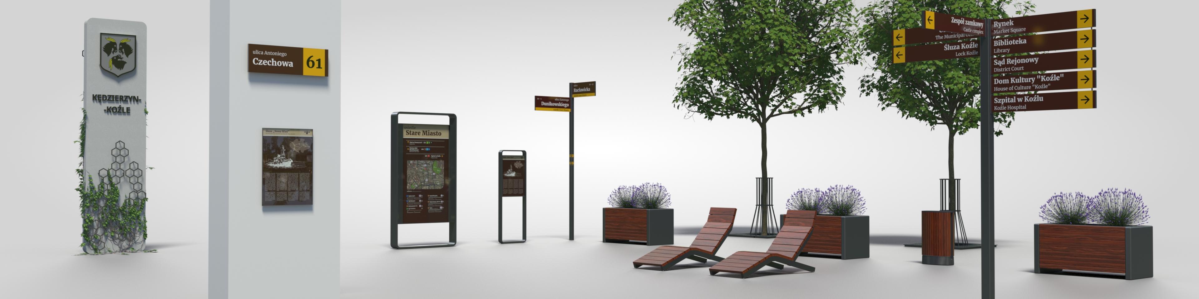 meble miejskie i system oznakowania
